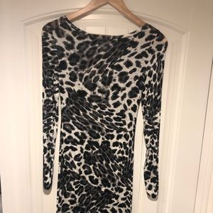 Bcbg long sleeve leopard dress